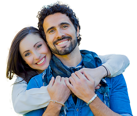 Young happy couple - man has beard